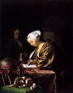 {{Information |Description={{en|1=''Woman Writing a Letter''.}} {{nl|1=''De briefschrijfster''.}} |Source=[http://www.wga.hu/html/m/mieris/frans/woman_wr.html www.wga.hu] |Author=Frans van Mieris (I) (1635, Leiden – 1681, ''idem'') |Date=[[1680]