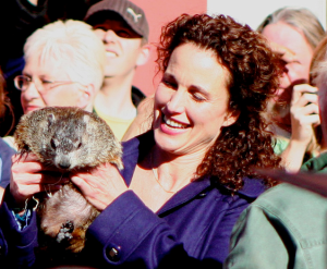 Andie MacDowell with a groundhog in 2008. From Wikimedia Commons.