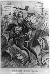 Woman with battleaxe on a horse, breaking open barrels of alcohol