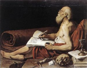 St. Jerome wonders if there's any yogurt left in that pot next to the hearth. Via Wikimedia Commons. By Leonello Spada.