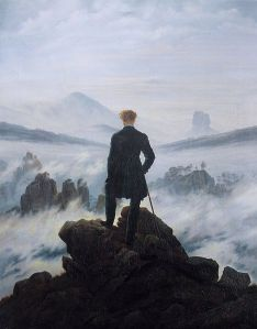 1818 Gentleman on a mountain top, staring out at a sea of fog below.
