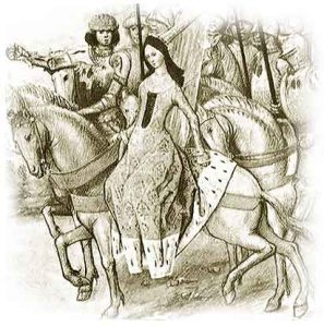 Queen Isabella in a luxurious riding habit on a horse, surrounded by supporters