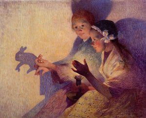 An evening's entertainment by the light of a flame. (Via Wikimedia Commons, Ferdinand du Puigaudeau, Chinese Shadows:  The Rabbit)
