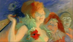 Impressionist drawing of a gay young woman in a green dress, leered at by men in costumes.