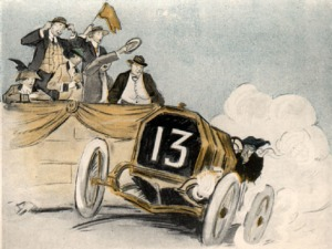 Woman racing past judges in a number 13 automobile (circa 1916)