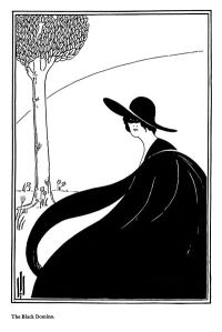 *This* is what a domino is! A kind of cloak, and it can be belted, and worn by men or women. After reading Georgette Heyer, I came away with the impression that it was a sort of sandwich board for some reason. Oh, the things we learn during NaNo! Via Wikimedia Commons. (In the style of Aubrey Beardsley.)