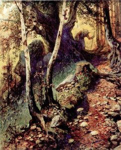 An old woman is hunting for mushrooms in a forest full of them. A squirrel on a birch tree watches her hunt. Painting, from the late 19th or very early 20th century.