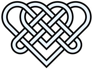 Celtic Heart Knot, intricate with many crossings over and under.