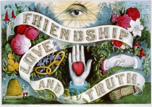 scroll with Friendship, Love and Truth weaving between symbols of love.