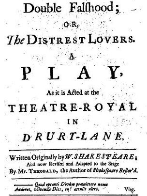 Title Page, 1728 quarto edition of Lewis Theobald's Double Falsehood (via Wikimedia Commons)