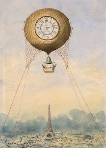 A hot air balloon with a clock face over Paris.