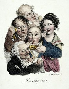circa 1810 or so. A man sees a golden disk, a young lady sniffs at a vial of perfume, a man listens with disdain to his pocket watch, a man enjoys a small dish of something, and an old man feels the young lady's plump and tender forearm, while looking at her slyly.