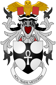 Terry Pratchett's coat of arms, granted by Letters Patent of Garter and Clarenceux King of Arms dated 28 April 2010. The motto means 'Don't Fear the Reaper.'