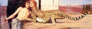 Something so odd about this picture -- not a woman, not a cheetah . . . needs some tweaking. I've got to get Kitty's cheetah side working with her woman side to form a whole character. Fernand Khnopff, via Wikimedia Commons