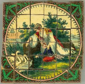 Old tile puzzle of a woman and boy feeding swans. ca. 1850?