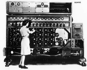 Modern computers can help you unravel the enigma that is going to be your novel. Use it to store -- and find -- your notes. (A Bombe computing device, via Wikimedia Commons)