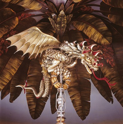 Dragon chandelier in the banqueting room, Royal Pavilion, Brighton (via brightonmuseums.org.uk)