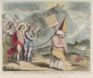 18th century cartoon of Apollo and several muses chastising a fat, half-naked Dr. Pomposo.