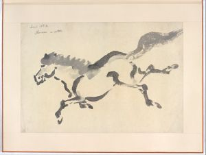 line-drawing of a horse in the Japanese style