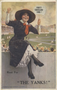 """ca 1913 A young lady sitting on fence outside of a baseball park, cheering her team on. On her fan is written, """"forty thousand tons"""" -- a reference to the fertilizer she's selling."""