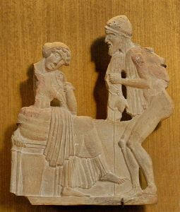 In this terracotta relief circa 450 BC, Odysseus, disguised as a beggar, tries to make Penelope recognize him.