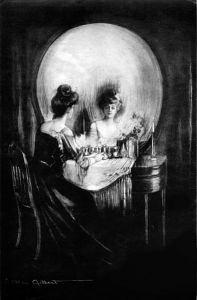 A young woman sits at her vanity mirror, but the overall image forms a skull