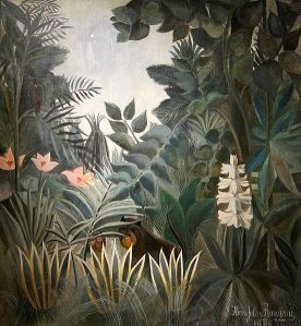 Lush jungle with small animals half-hidden behind leaves