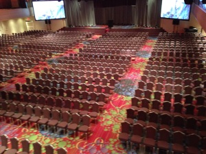 The quiet before the storm: workers prepare the ballroom at the Marriott Marquis for upcoming festivities