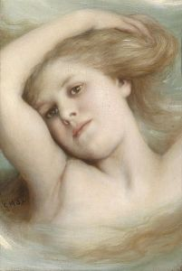 Contemplative woman bathing 1915