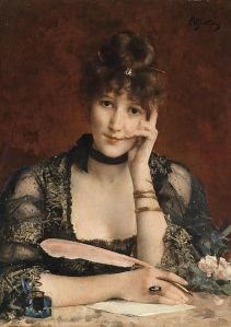 Gilded Age woman writing with a quill.