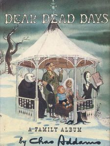 In a gazebo in winter, Morticia is looking at an X-ray, Gomez is showing the children and Grandmama a shrunken head of himself, and Uncle Fester is busying himself with a mysterious instrument. (A piccolo? A hacksaw? A stereopticon?)