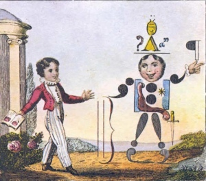 A young boy greets a person made of commas, semi-colons and other punctuation.