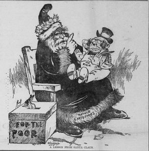 A rich man sitting on Santa's lap, being denied presents. Next to Santa is a collection box for the poor, and a mouse is putting a large coin in the slot on top.