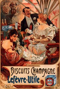 Gentleman offering two ladies in evening gowns some biscuits. Circa 1900, very gorgeous and rich. And delicious!