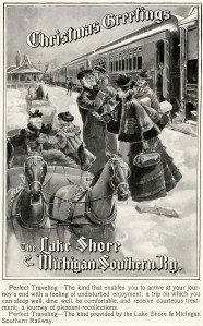 1898 train advertisement with a young mother, her husband, children and a family come to meet them in a horse-drawn sleigh. Christmas Greetings is the banner.