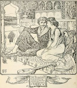 An 1890s man in a dressing gown tells a harem girl stories about her eyes.