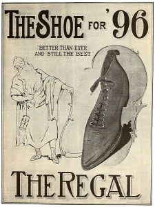 Father Time with an old-fashioned shoe from 1896