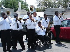 "Hot 8 Brass Band playing ""jazz funeral"" for New Orleans blogger Ashley Morris. Photo by Howie Luvzus, 2008"