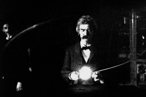 Was Dr. Horrible always destined to be horrible? He seemed like such a redeemable young lad. (Mark Twain in Nikola Tesla's lab, via Wikimedia Commons)