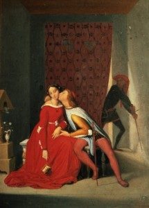 A man kissing a woman with a skinny man lurking in the background with a sword.