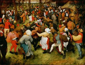 a peasant wedding from 1566 with many people dancing and enjoying themselves, among other things