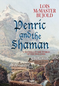 """Penric and the Shaman"" cover -- small mill on a river in a mountainous region with a goatherd and three goats on a bridge."
