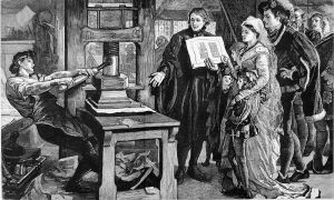 Printing Press with a handsome young man laboring over it, and a publisher showing a printed page to the queen, king and their children.