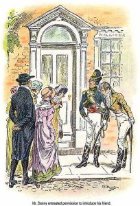 Mr. Collins and four four of the Bennet girls meet Mr. Denny and Mr. Wickham in Meryton, from the book Pride and Prejudice