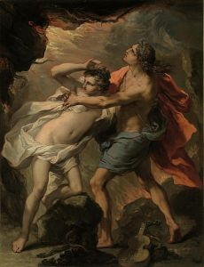 Orpheus taking Eurydice out of hell