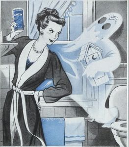 "Vanish ad from 1948 with a housewife staring down a ghost in a ""modern"" bathroom."
