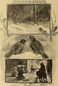 A triptych with an outdoor winter storm, two birds, and three children enjoying the warmth of the hearth in front of the fireplace.
