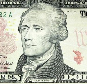 Picture of Alexander Hamilton from the ten-dollar bill