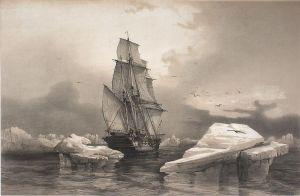 A ship sailing amongst a sea of icebergs