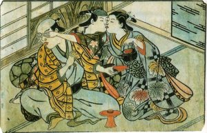 The lover of a rich man sneaks a kiss with a geisha behind the rich man's back.